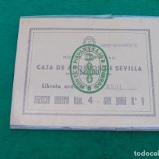 Documentos bancarios: LIBRETA DEL MONTE DE PIEDAD Y CAJA DE AHORROS DE SEVILLA. AÑO 1972.. Lote 81227668