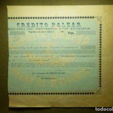 Documentos bancarios: CREDITO BALEAR - RECIBO DE DEPÓSITO - CON ANOTACIONES EN REVERSO.- AÑO 1926. Lote 84888760