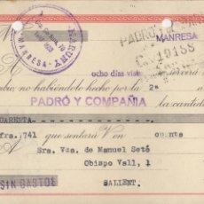 Documentos bancarios: LETRA DE CAMBIO 1957 - MANRESA - COMERCIAL MARUNY. Lote 85054372