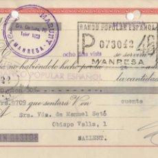 Documentos bancarios: LETRA DE CAMBIO 1957 - MANRESA - COMERCIAL MARUNY. Lote 85056488