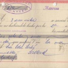 Documentos bancarios: LETRA DE CAMBIO 1957 - MANRESA - LUIS GUITARD. Lote 85075368