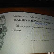 Documentos bancarios: ANTIGUA CHEQUERA BANCO HISPANO AMERICANO NOVELDA / CONTIENE UN CHEQUE SIN USO -AÑOS 70. Lote 85229356