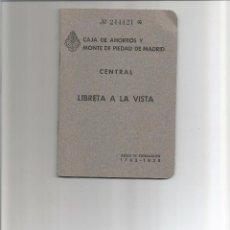 Documentos bancarios: LIBRETA CAJA DE AHORROS Y MONTE DE PIEDAD DE . MADRID 1959 . Lote 85551296