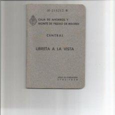 Documentos bancarios: LIBRETA CAJA DE AHORROS Y MONTE DE PIEDAD DE MADRID 1959. Lote 85552264