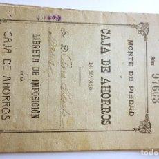 Documentos bancarios: CARTILLA CAJA DE AHORROS MADRID (1915-1939). Lote 85917332