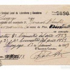 Documentos bancarios: PAGARE - RECIBO - HERMANDAD SINDICAL LOCAL DE LABRADORES Y GANADEROS 1953. Lote 86199500