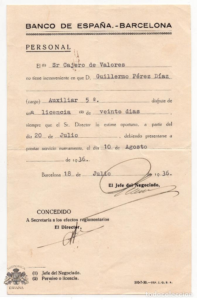BANCO DE ESPAÑA BARCELONA CONCEDE LICENCIA 20 DIAS - GUERRA CIVIL 1936 (Coleccionismo - Documentos - Documentos Bancarios)
