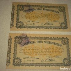 Documentos bancarios: PAPEL DE FIANZAS , INSTITUTO NACIONAL DE LA VIVIENDA 5 PESETAS 1940 . LOTE 2 PAPELES. Lote 86661800