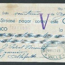 Documentos bancarios: CHEQUE AÑO 1929 DE JOSE SANROMA VALLS SELLADO BANCO DE VALLS. Lote 29300678