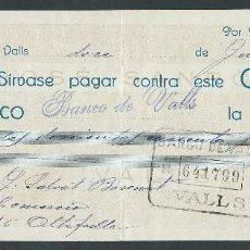 Documentos bancarios: CHEQUE AÑO 1929 DE JOSE SANROMA VALLS SELLADO BANCO DE VALLS. Lote 87603552