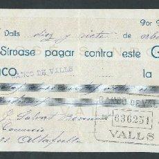 Documentos bancarios: CHEQUE AÑO 1929 DE JOSE SANROMA VALLS SELLADO BANCO DE VALLS. Lote 87603636
