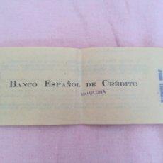 Documentos bancarios: CHEQUERA CHEQUE BANCO ESPAÑOL DE CREDITO PAMPLONA. Lote 88272460