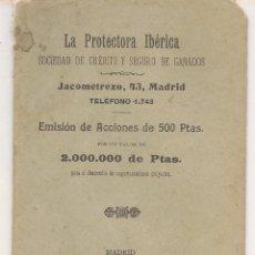 Documentos bancarios: LA PROTECTORA IBÉRICA. SOCIEDAD DE CRÉDITO Y SEGURO DE GANADO. MADRID 1904. (P/C9). Lote 88889276