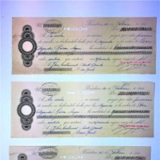 Documentos bancarios: LOTE DE 3 PRIMERAS DE CAMBIO. GÁSSER. NATIONAL PARK BANK. ARNUS-GARI. ESPAÑA. 1918. Lote 90652490