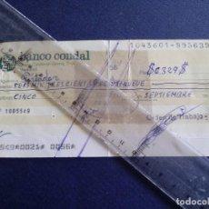 Documentos bancarios: TALON BANCARIO BANCO CONDAL . MADRID AÑO 1976. Lote 91070705