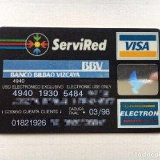 Documentos bancarios: TARJETA VISA ELECTRÓN BBV AÑOS 90. Lote 91428860
