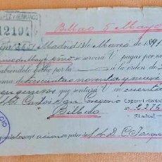 Documentos bancarios: LETRA DE CAMBIO ANTIGUA BILBAO 1891 BANCO CREDIT LYONNAIS CON CERTIFICADO DE AUTENTICIDAD. Lote 94516706