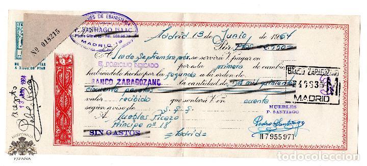 PAGARE BANCO ZARAGOZANO 1964 - TALLERES DE EBANISTERÍA P. SANTIAGO ISAAC (Coleccionismo - Documentos - Documentos Bancarios)