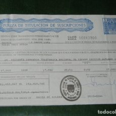 Documentos bancarios: POLIZA TITULACION SUSCRIPCIONES - TIMBRE DE CLASE UNICA DE 5 PTA 1975 - TELEFONICA. Lote 95815667
