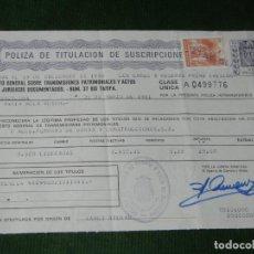 Documentos bancarios: POLIZA TITULACION SUSCRIPCIONES - TIMBRE DE CLASE UNICA DE 10 PTA 1981 FOMENTO OBRAS CONSTRUCCIONES. Lote 95815763