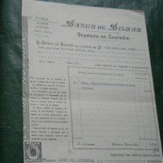 Documentos bancarios: BANCO DE BILBAO - DEPOSITO EN CUSTODIA - 1954 - ACCIONES CROS - TIMBRES EFECTOS DE CONSUMO. Lote 95922683