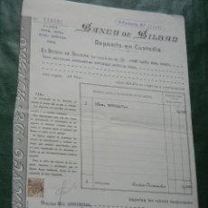 Documentos bancarios: BANCO DE BILBAO - DEPOSITO EN CUSTODIA - 1957 - ACCIONES CROS -. Lote 95922719