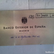 Documentos bancarios: TALONARIO DE CHEQUES BANCO EXTERIOR DE ESPAÑA. MADRID 1963. . Lote 95981311