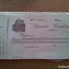 Documentos bancarios: TALONARIO BANCO CENTRAL 1956. Lote 95997939