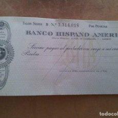 Documentos bancarios: TALONARIO BANCO HISPANO AMERICANO. 1961. Lote 95998363
