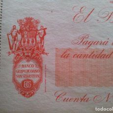 Documentos bancarios: TALONARIO BANCO GUIPUZCOANO. IRÚN. 1967. Lote 95998915