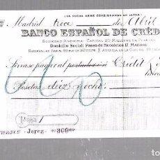 Documentos bancarios: LETRA DE CAMBIO. BANCO ESPAÑOL DE CREDITO. MADRID. 1908. Lote 96587035