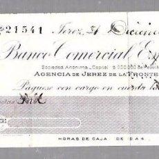 Documentos bancarios: PAGARE. BANCO COMERCIAL ESPAÑOL. JEREZ DE LA FRONTERA. 1907. Lote 96588655