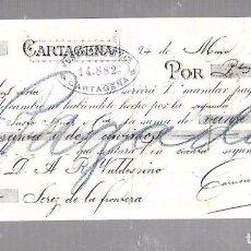 Documentos bancarios: LETRA DE CAMBIO. JUSTO AZNAR Y CIA. CARTAGENA. 1886. Lote 96655243
