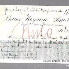 Documentos bancarios: PAGARE. BANCO HISPANO AMERICANO. SEVILLA. 1912. Lote 96656151