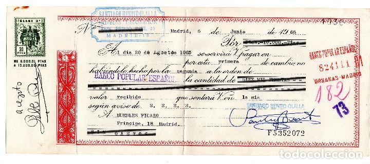 PAGARE 1965, LETRA DE CAMBIO, MUEBLES DECORACIÓN SANTIAGO BENITO, BANCO POPULAR, TIMBRE FISCAL (Coleccionismo - Documentos - Documentos Bancarios)