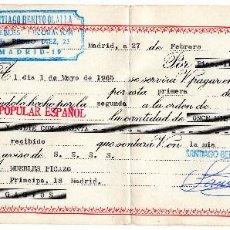 Documentos bancarios: PAGARE 1965, LETRA DE CAMBIO, MUEBLES DECORACIÓN SANTIAGO BENITO, BANCO POPULAR, TIMBRE FISCAL. Lote 96709055