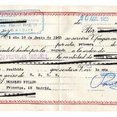 Documentos bancarios: PAGARE 1965, LETRA DE CAMBIO, MUEBLES DECORACIÓN SANTIAGO BENITO, BANCO POPULAR, TIMBRE FISCAL. Lote 96709307
