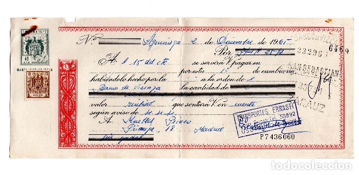 PAGARE 1965, LETRA DE CAMBIO, TRANSPORTES ERRASTI, BANCO VIZCAYA, TIMBRE FISCAL (Coleccionismo - Documentos - Documentos Bancarios)