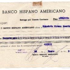 Documentos bancarios: RESGUARDO - BANCO HISPANO AMERICANO - 1959. Lote 96712551