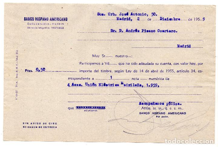 RESGUARDO - BANCO HISPANO AMERICANO - 1959 (Coleccionismo - Documentos - Documentos Bancarios)