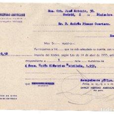 Documentos bancarios: RESGUARDO - BANCO HISPANO AMERICANO - 1959. Lote 96713139