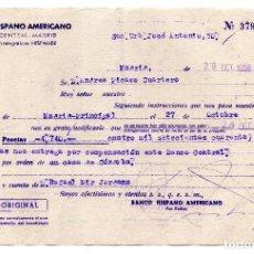 Documentos bancarios: RESGUARDO - BANCO HISPANO AMERICANO - 1959. Lote 96713295
