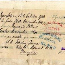 Documentos bancarios: LETRA DE CAMBIO BANCO DE BILBAO. VARIOS SELLOS.. Lote 97609459