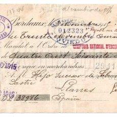 Documentos bancarios: LETRA DE CAMBIO EXPORTACIÓN DE PAÑERÍA LES FILS DE JULIEN LAMAIGNERE. BURDEOS BORDEAUX AÑO 1915. Lote 97688935