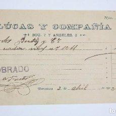Documentos bancarios: ANTIGUO CHEQUE - LUCAS Y COMPAÑÍA - BARCELONA, 1902. Lote 98133559