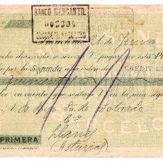 Documentos bancarios: LETRA DE CAMBIO FABRICA DE TEJIDOS DE ALGODON RAMON SENESTEVA CARDEDEU Y MANLLEU. BARCELONA AÑO 1923. Lote 98622283