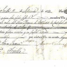 Documentos bancarios: LETRA DE CAMBIO. SEVILLA. 1828. ADRIAN JACOME. MARIA DEL ROSARIO JACOME.. Lote 98742279