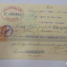 Documentos bancarios: CHEQUE. HIJO DE VENTURA DEL OLMO. PALENCIA. 1924. Lote 99349651