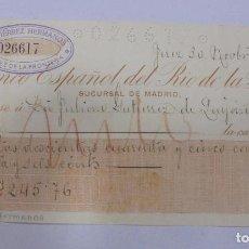 Documentos bancarios: CHEQUE. BANCO ESPAÑOL DEL RIO DE LA PLATA. SUCURSAL DE MADRID. 1917. Lote 99349843