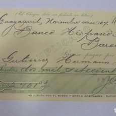 Documentos bancarios: CHEQUE. BANCO HISPANO AMERICANO. BARCELONA. 1907. Lote 99349975